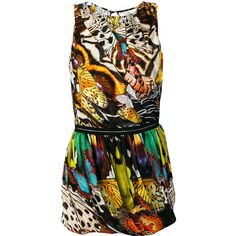Roberto Cavalli tropical print short dress (65 185 UAH) ❤ liked on Polyvore featuring dresses, multicolour, multicolored dress, short colorful dresses, roberto cavalli, tropical pattern dress and multi-color dress