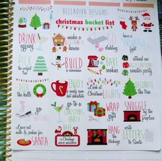 You will receive 1 sheet of these Christmas/winter bucket list planner stickers. There are 20 bucket list stickers and 9 decorative stickers