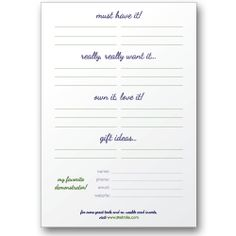Need to make some of these to print out for catalogs.... Sticky Wish Lists for catalogs - home party & direct sales businesses $3.50