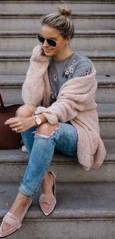 Casual Outfit Inspiration Blush Cardigan Plus Rips Plus Velvet Loafers Plus Embroidered Sweatshirt