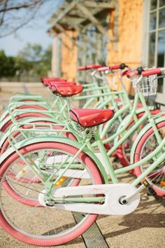 Lovely Bicycles in Pink and Green via Content in a Cottage