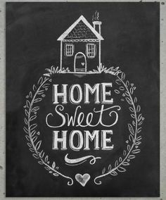 Home Sweet Home Chalkboard Art Print, $20. Features hand drawn lettering and lovely wreath illustration.