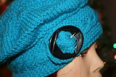 Handmade Acrylic Yarn Crochet Knit Hat Blue with Vintage Black Buckle by EverythingLovedAgain on Etsy