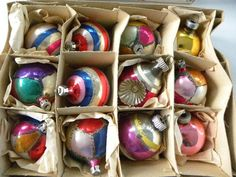 Box of Vintage Glass Christmas Ornaments Poland Shiny Brite. $23.00, via Etsy.