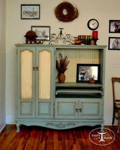 My Very Own Mommy Center Repurposing an Entertainment Center -- beautiful, great idea.