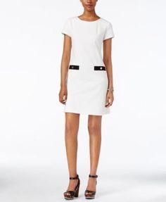 TOMMY HILFIGER Tommy Hilfiger Short-Sleeve Pocket-Detail Shift Dress. #tommyhilfiger #cloth # dresses
