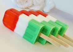 CHRISTMAS SOAP POPSICLE ~ Red Green & White, $5.00