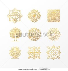 Vector set of abstract golden signs, symbols and logo design templates - luxury…