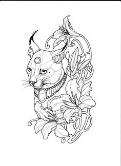 Karakal sketch drawing tracing tattoo idea by Gaby Tattoo Anansi Munich Germany -