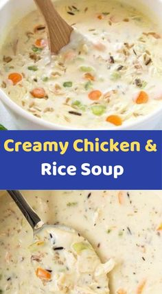 Creamy Chicken & Rice Soup Ingredients cup long grain brown rice 3 carrots, peeled and sliced 1 large potato, cut into one″ cubes 1 stalk celery, diced 1 yellow or sweet onion, diced 2 cloves Crockpot Recipes, Soup Recipes, Chicken Recipes, Delicious Recipes, Cooking Recipes, Yummy Food, Creamy Chicken Rice Soup, Dinner Recipes Easy Quick, Easy Recipes