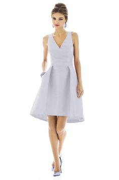 Alfred Sung D586 Bridesmaid Dress Dupioni in Dove | Weddington Way