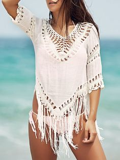 Chic Crochet Pattern V-Neck 3/4 Sleeve White Cover-Up For Women (WHITE,ONE SIZE(FIT SIZE XS TO M)) | Sammydress.com