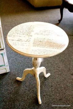 DIY And Crafts: Mod Podge script table top! Gorgeous! via Refresh Restyle
