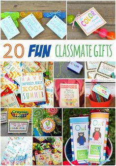 20 FUN End of the School Year Classmate Gifts! Super Fun DIY Gifts for all your buddies!