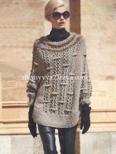 Пончо-пуловер выпуклым узором Размер: 38/40 (42/44) 46/48 http://shemyvyazaniya.com/page/poncho-pulover-vypuklym-uzorom
