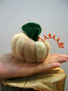 #Halloween #Thanksgiving #Pumpkin #Felt White felt pumpkin with green leaf and playful handle  That pumpkin would make a fantastic Thanksgiving decor and a fun Halloween atmosphere. It looks