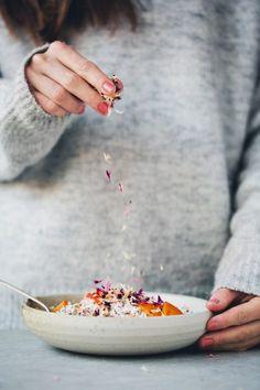 quinoa bircher porridge with persimmons and petals | green kitchen stories recipe
