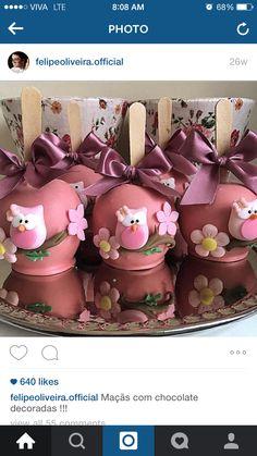 Owl Cakes, Bird Cakes, Chocolate Covered Apples, Caramel Apples, Cupcake Art, Cupcake Cookies, Apple Desserts, Apple Recipes, Oreos