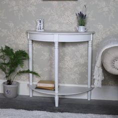 This is our Mia Range gorgeous half moon console table in an antique white finish. This beautiful console table, in the classic half moon, shape, will offer not only additional surface space but an elegant piece of furniture to add to your interior dcor. Half Moon Console Table, Half Table, Compact Furniture, Modern Furniture, New Interior Design, Shabby Chic Homes, Rustic Interiors, White Decor, Extra Storage