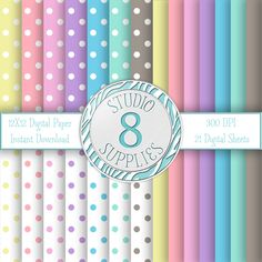 INSTANT DIGITAL DOWNLOAD - 12X12 Polka Dot and Solid Color Variety Pack - 21 Sheets - One-of-a-kind Design by Studio 8 Supplies by studio8supplies on Etsy