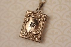 Diamond Flower Book Locket Necklace in Gold Filled by FreshyFig, $229.00