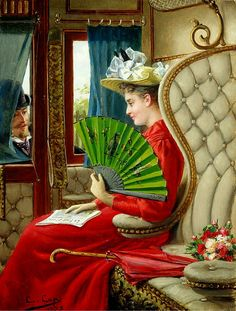 The Indiscretion (1895). Constant Aime Marie Cap (Belgian, 1842-1915). Oil on panel. The scene is inside a stationary train. The elegant lady puts down her newspaper as a gentleman is courting her through a window of the compartment. The lady may be using her fan for a degree of privacy.