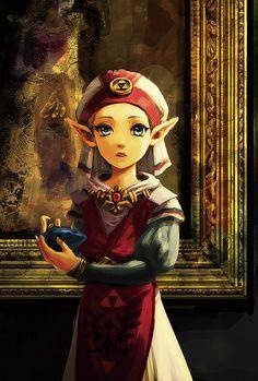 Une Princesse Zelda avec le style de l'artiste Japonais :  起代. via: http://www.pixiv.net/member.php?id=74386