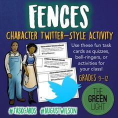 Use your students' interest in social media to help spice up your unit plan on August Wilson's play, Fences, with these Character Tweet Sheets. This Twitter-style activity can be used as quizzes, group work, bell-ringers, or a fun review at the end of your