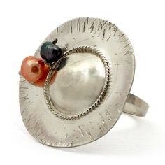 Sterling Silver Hat Ring. Handmade rhodium plated sterling silver ring with pearls. Adjustable size.