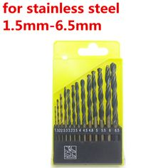 Metalworking Hard Metal HSS Twist Drill Bit Set For Drilling Stainless Steel 13 Pcs From 1.5mm To 6.5mm
