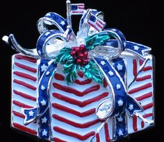 """BEST USA JULY 4TH INDEPENDENCE FLAG BOW PRESENT PIN BROOCH PENDANT JEWELRY 2"""" #BEST"""