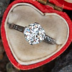 Vintage Engagement Rings   Antique Diamond Rings   EraGem Estate Engagement Ring, Antique Engagement Rings, Vintage Rings, Vintage Jewelry, Antique Jewellery, Gold Jewelry, Jewelry Box, Antique Diamond Rings, European Cut Diamonds