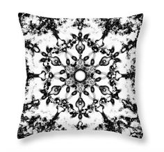Black and White Throw PillowMandala Throw by PatLintnerFineArt