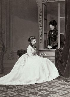 Another gorgeous image of Archduchess Clotilde of Austria (left) with sister, Princess Amalie of Saxe Coburg and Gotha. Early 1870s.