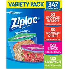 Variety Pack contains 52 Gallon Storage Bags, 50 Quart Storage Bags, 125 Sandwich Bags, and 120 Snack Bags Sandwich Bags, Sandwiches, Food Storage, Bag Storage, Costco Food, Bad Room Ideas, Cool Paper Crafts, Snack Recipes, Sweets