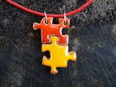 puzzle necklace ceramic pendant red and orange one of kind by ozdonik, $16.00