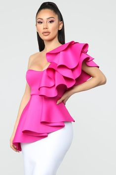 Not Sorry Ruffle Top - Fuchsia Available In Fuchsia Ruffle  One Shoulder Knit Self: 92% Polyester 8% Spandex  Lining: 100% Polyester  Made In USA