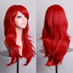 Wig Red High Quality 70CM Curly Wave Hair Long Synthetic Hair