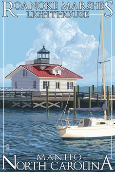 Roanoke Marshes #Lighthouse - Manteo, #NC - Lantern Press Poster    http://www.roanokemyhomesweethome.com