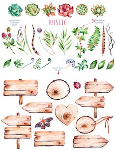 Rustic watercolor collection by Kate_Rina on Printable nature stickers Plants, flowers, signs, butterflh Watercolor On Wood, Watercolor Flowers, Watercolor Paintings, Watercolor Stickers, Wreath Watercolor, Illustration Blume, Watercolor Illustration, Artichoke Flower, Succulent Wreath