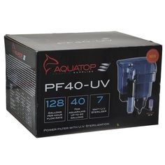 Aquatop Power Filter with U V Sterilization is perfect for use in both fresh and saltwater aquariums. Equipped with an internal U.V Sterilizer Bulb to help control unwanted algae blooms and eradicate free-floating parasites such as Ich.    Aso utilizes a self-adjusting, built-in surface skimmer to help maintain optimal oxygen levels by cleaning the surface of the water and allowing for maximum gas exchange.