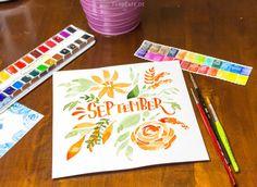 September, Lettering, Aquarell, Kalligraphie, Handschrift, Watercolor, Moderne Kalligraphie, Brushlettering, Blumen, Florale Elemente