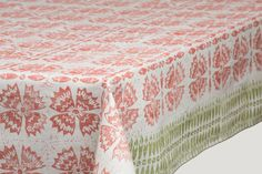 Block printed  white cotton tablecloth lino block by kaupole