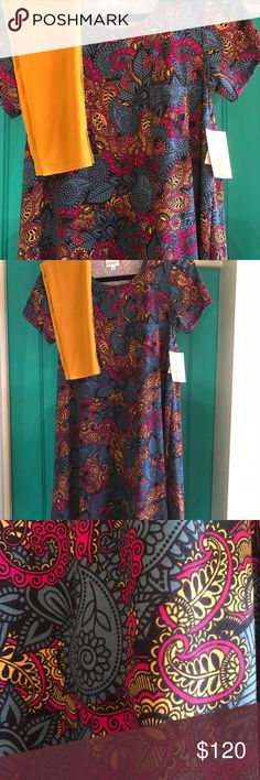 LuLaRoe Carly & OS leggings outfit LuLaRoe Carly & OS leggings outfit. Super cute! Paisley design on the Carly and the leggings match perfectly. NWT. Carly is a really hard to find popular print and this color leggings are so in right now! LuLaRoe Dresses High Low