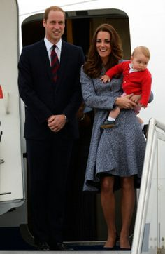 Britain's Prince William, his wife Catherine and their son Prince George depart Australia from Defence Establishment Fairbairn in Canberra on 25.04.14.