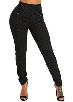 bbd005b35092 ModaXpressOnline Womens Black High Waisted Elastic Waist All-Over Print  Evening Wear Pants 41537I Elastic