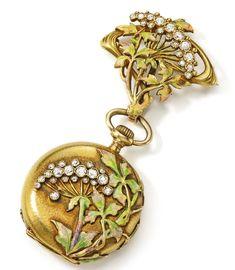 SWISS   A FINE YELLOW GOLD, ENAMEL, AND DIAMOND-SET ART NOUVEAU OPEN FACED PENDANT WATCH MVT 172775 CASE 235875 CIRCA 1915