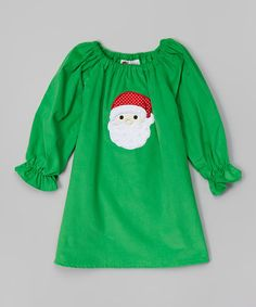 Love this Green Santa Corduroy Dress - Infant, Toddler & Girls by Smockadot Kids on #zulily! #zulilyfinds
