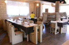 The Carton Restaurant in Taichung City has cardboard chairs, tables, decorations, and plates, to...