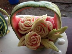The skill of fruit carving will enable you to furnish a table of food with beautiful and decorative fruit art that your guests will be impressed with. Watermelon Basket, Gourmet Baskets, Carving Station, Fruit Sculptures, Fruit Creations, Fruit And Vegetable Carving, Food Carving, Fruit Art, Culinary Arts